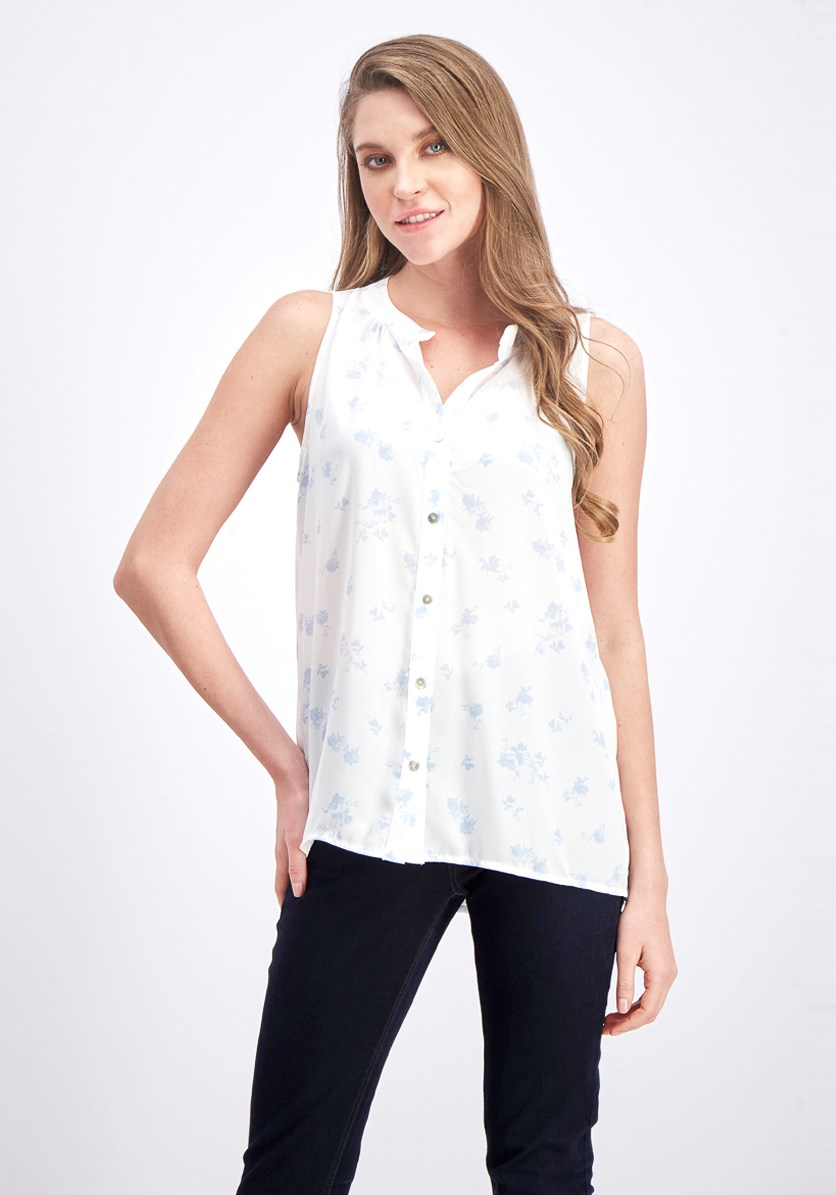 Women's Split Neck Top, White