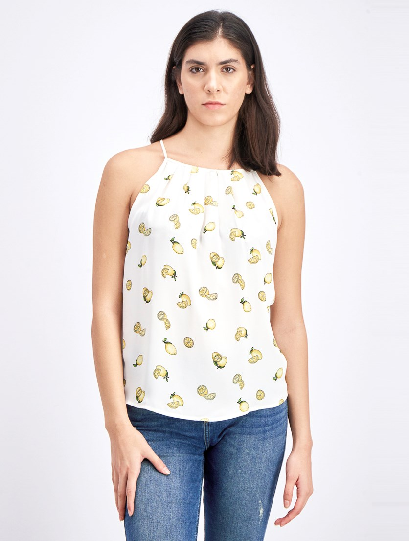 Women's Fruit Print Sleeveless Top, White/Yellow