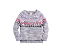 Toddler Girl's Embellished Knit Sweater, Grey
