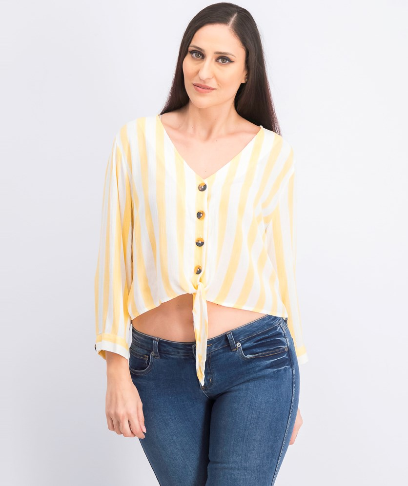 Women's Tie Front Top, Yellow/White