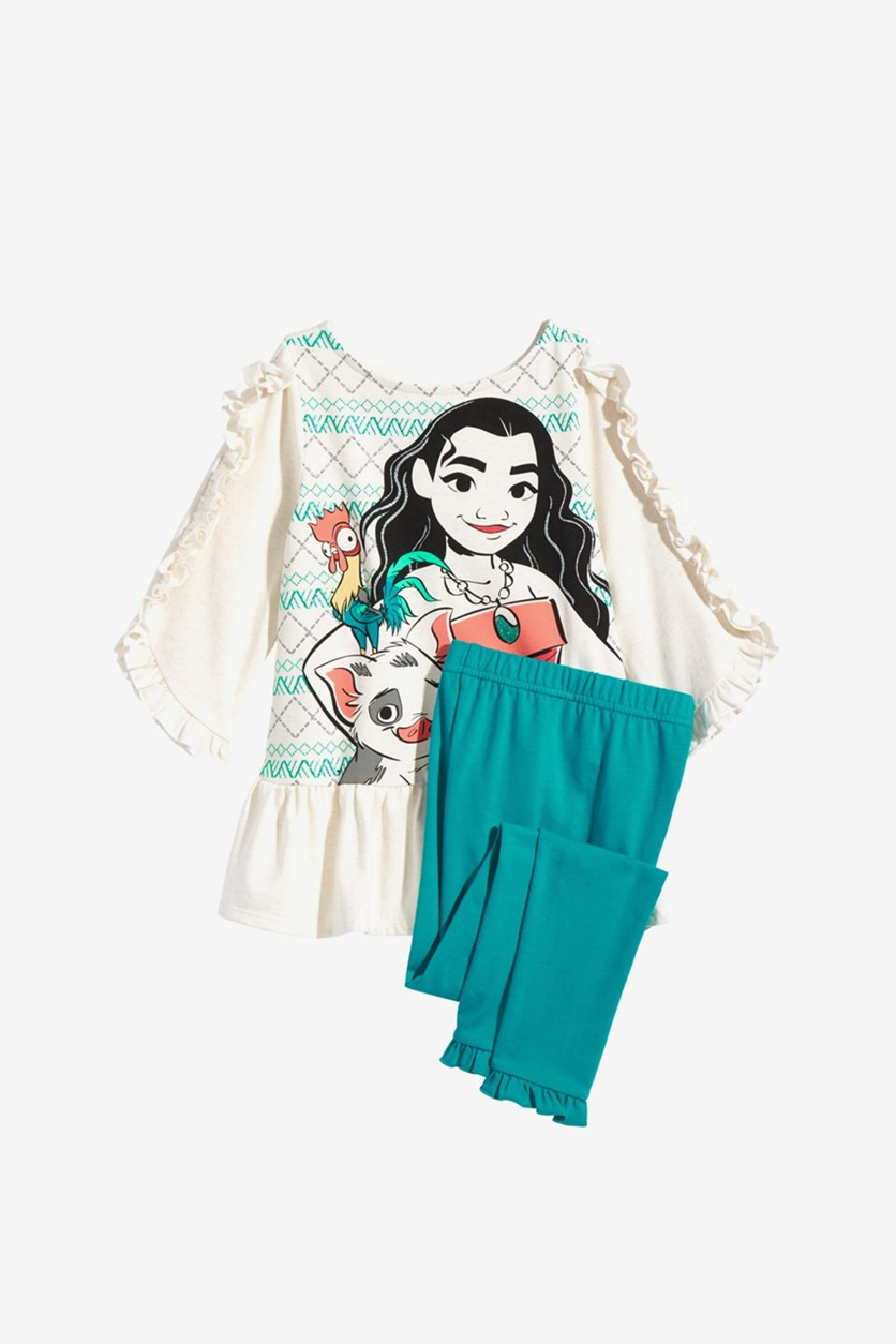 Girl's 2-Pc. Moana Tunic & Leggings Set, Cashmere/Blue Green