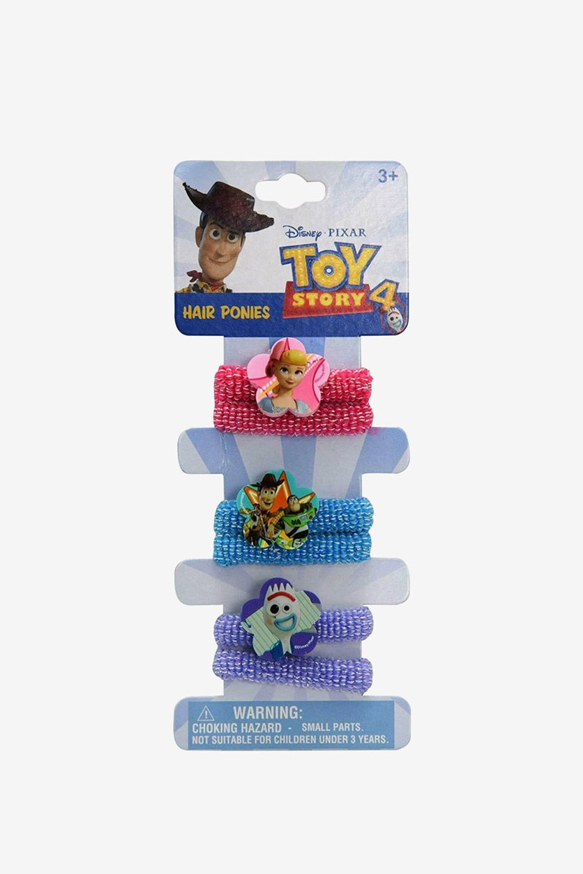 Toy Story Elastics & Ties 6 Pcs Terry Ponies Set On Card, Pink/Blue/Purple