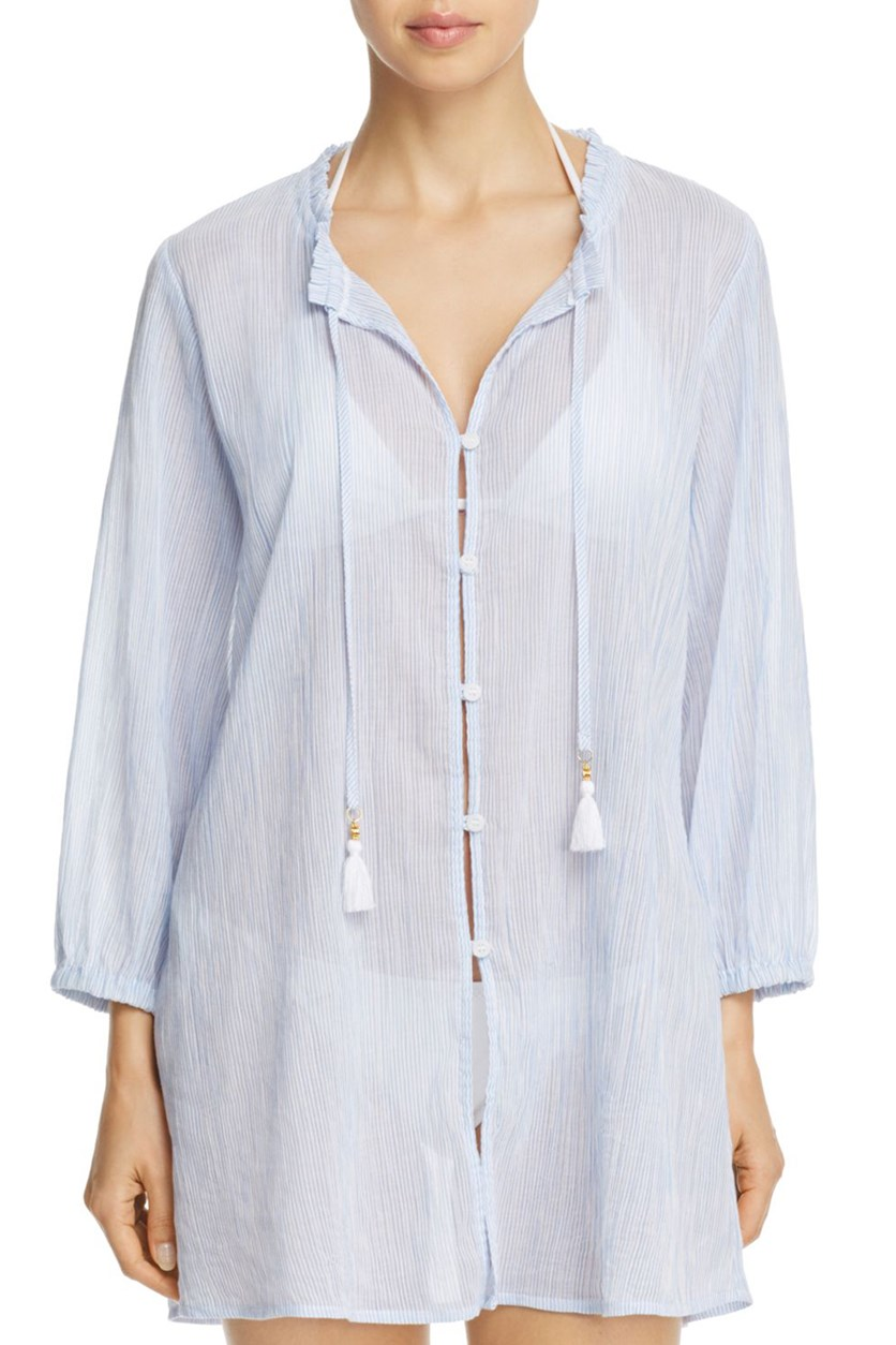 Striped Gauze Button-Front Shirt Dress Swim Cover-Up, Blue