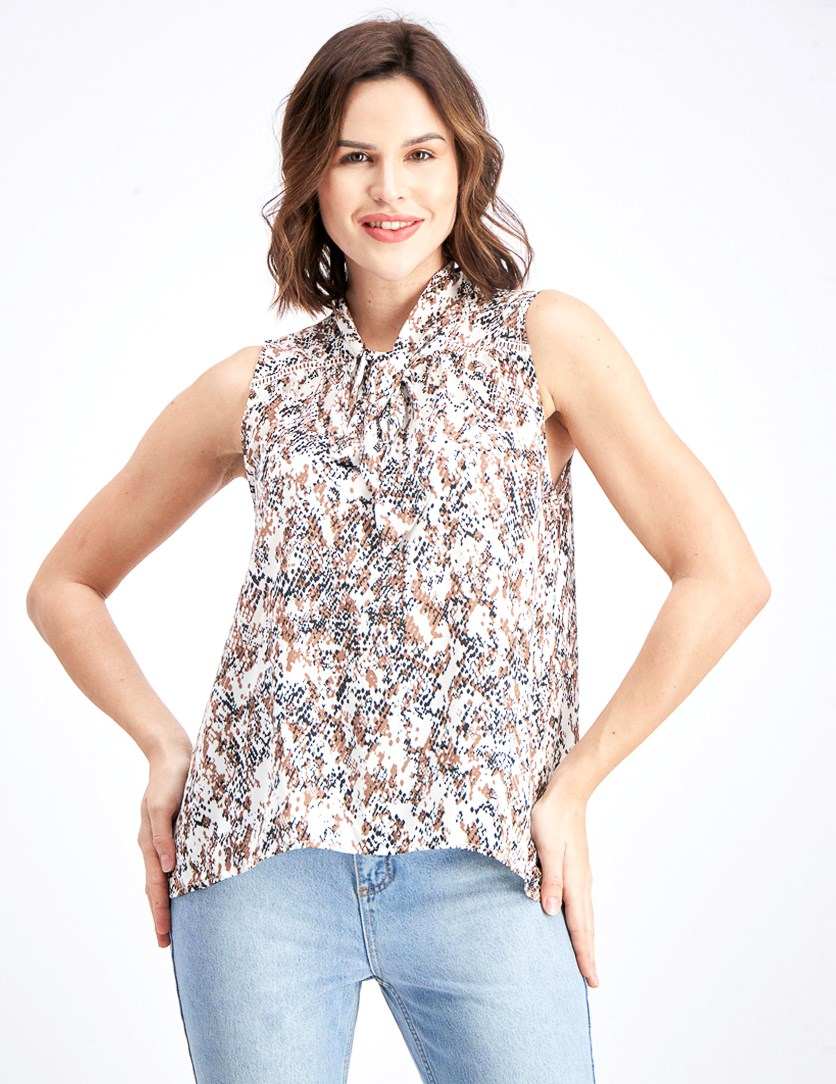 Women' Printed Sleeveless Blouse, Brown Combo