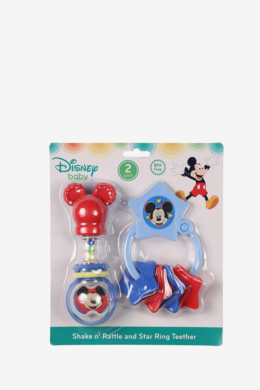 Mickey Mouse Barbell Rattle & Keyring Teether, Blue/Red