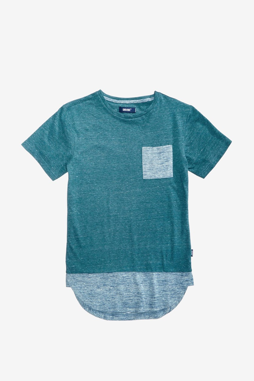 Big Boy's Contrast Pocket T-Shirt, Dee Sea Heather