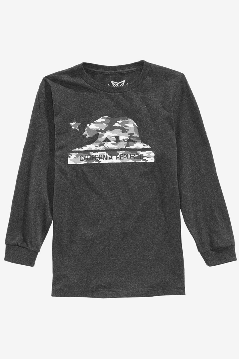 Big Boys Cali Camo Bear Graphic T-Shirt, Pepper Gray