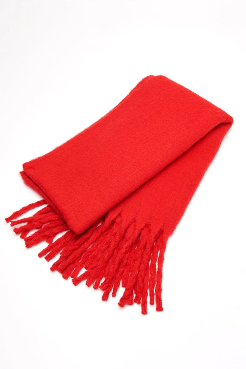 Women's Fringe Scarf, Red