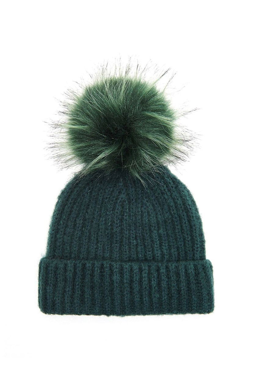 Women's Knitted Beanie With Pom, Green