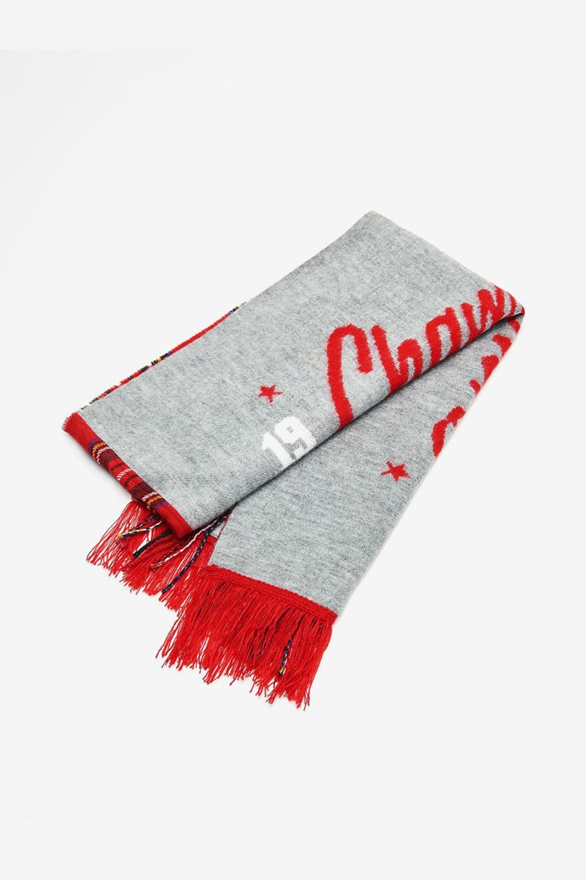 Women's Fringe With Lettering Scarf , Grey/Red
