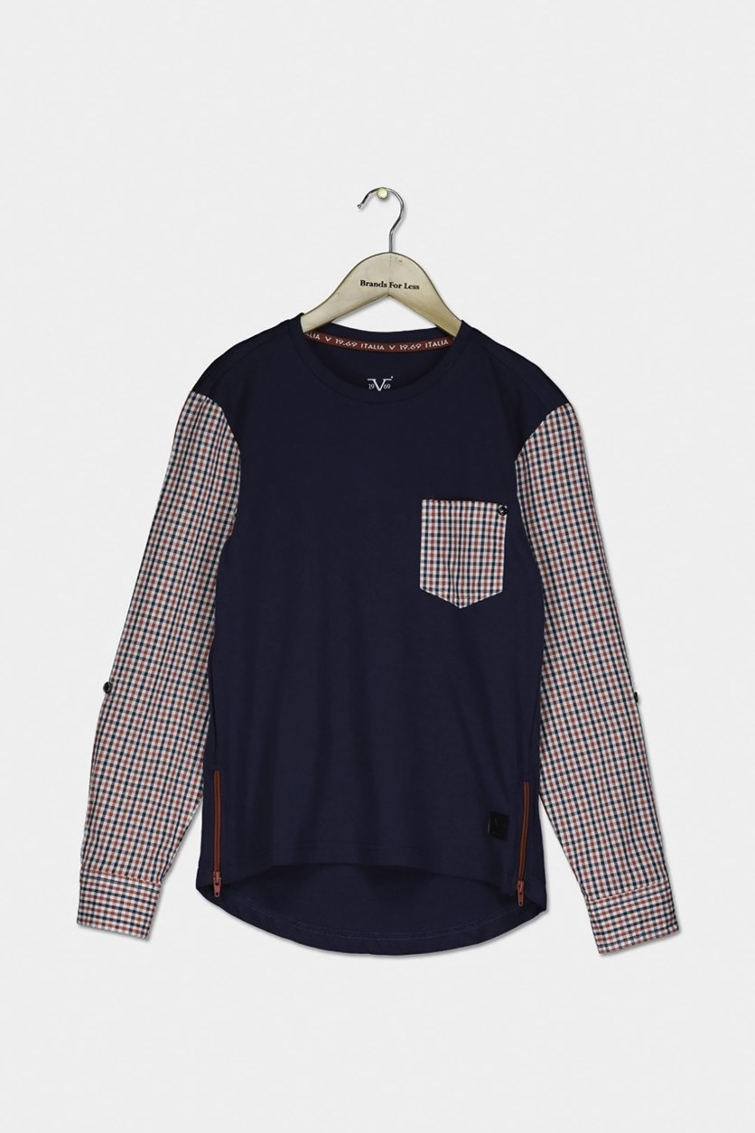 Toddler Boy's Plaid Long Sleeve T-Shirt, Navy
