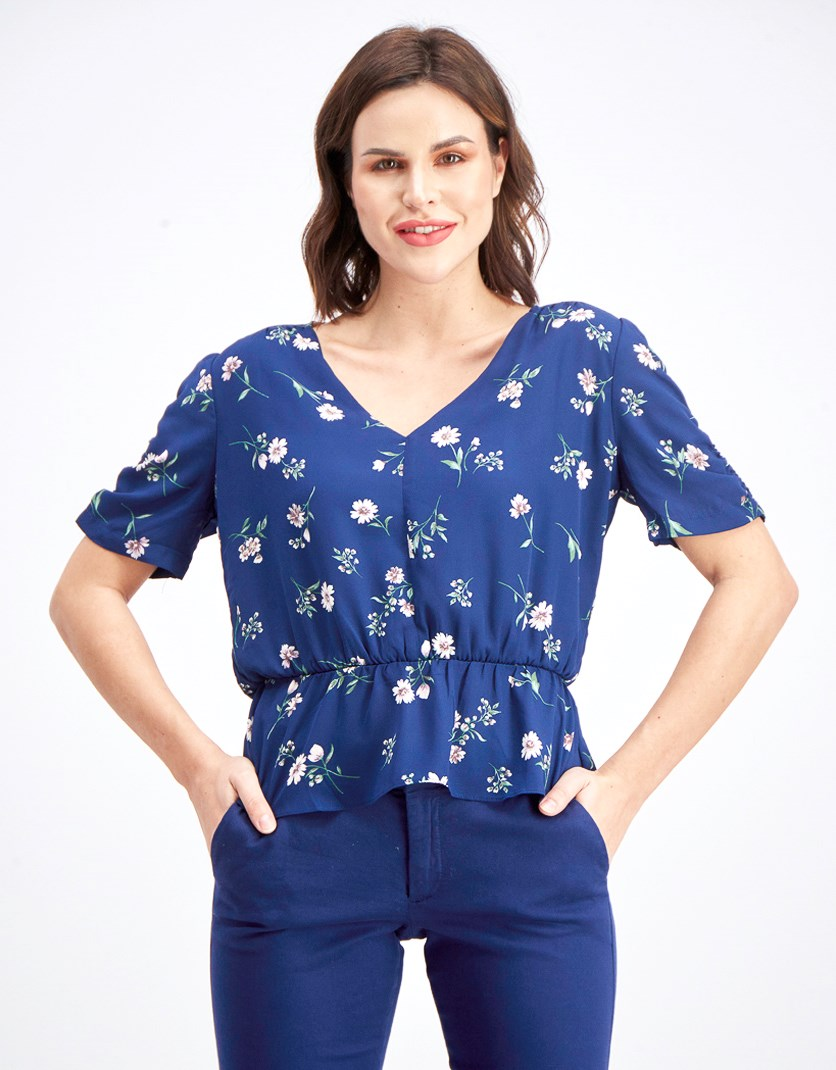 Women's Floral Print Top, Navy