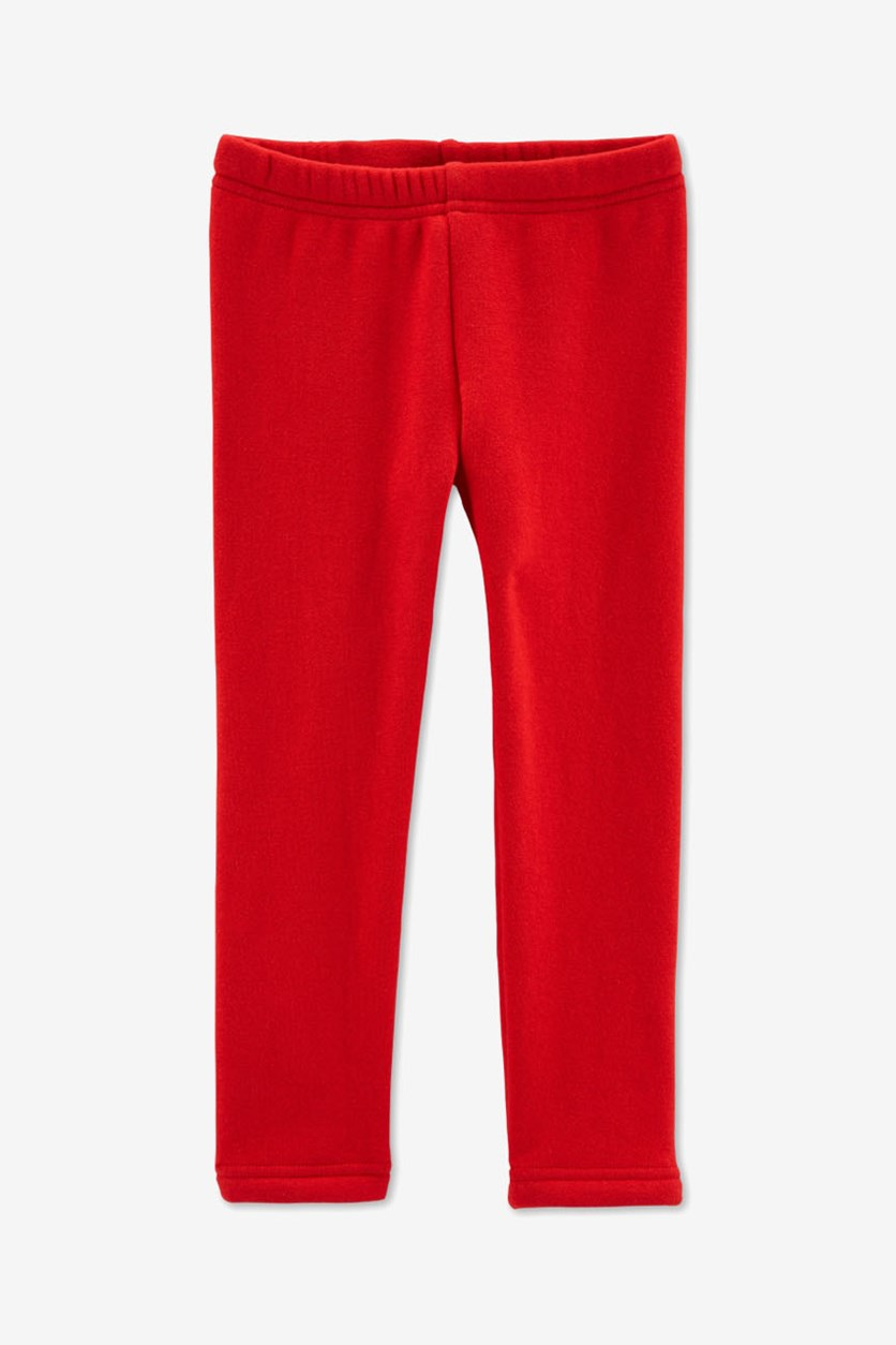 Kids Girl Fleece Leggings, Red