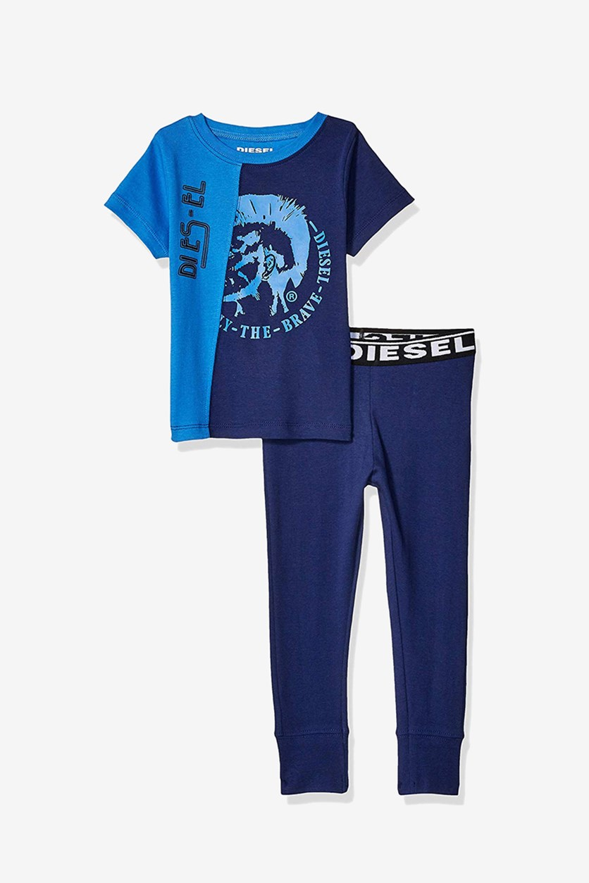Boy's Two-Tone Snug Fit Sleepwear Set, Palace Blue