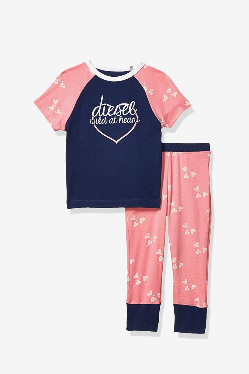 Girl's 2 Pieces Graphic Print Sleepwear Set, Navy/Pink