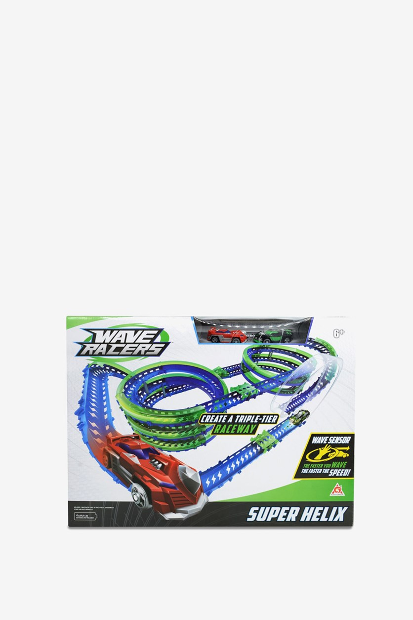 Wave Racers Super Helix Speedway Playset, Blue/Green/Red Combo