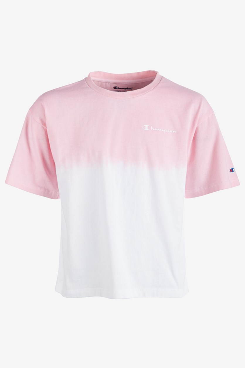 Girl's Dip-Dyed Colorblocked T-Shirt, Pink/White