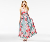 Teeze Me  Printed Satin Halter Gown, Blue/Pink