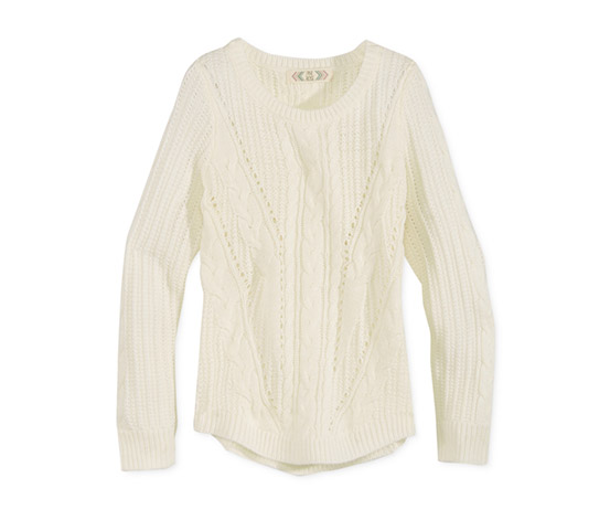 Girl's Rose Mixed-Knit Metallic Sweater, Off White
