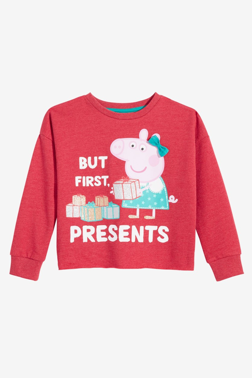 Little Girl''s Graphic-Print Sweatshirt, Red Combo
