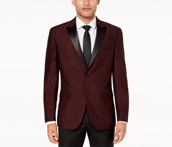 Men's Slim-Fit Mini-Grid Dinner Jacket, Maroon