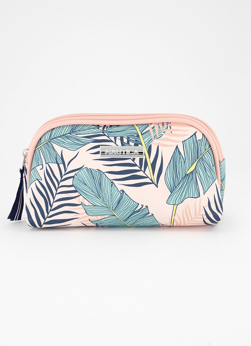 Women's Tropical Leaf Trap Case, Pink/Green Combo