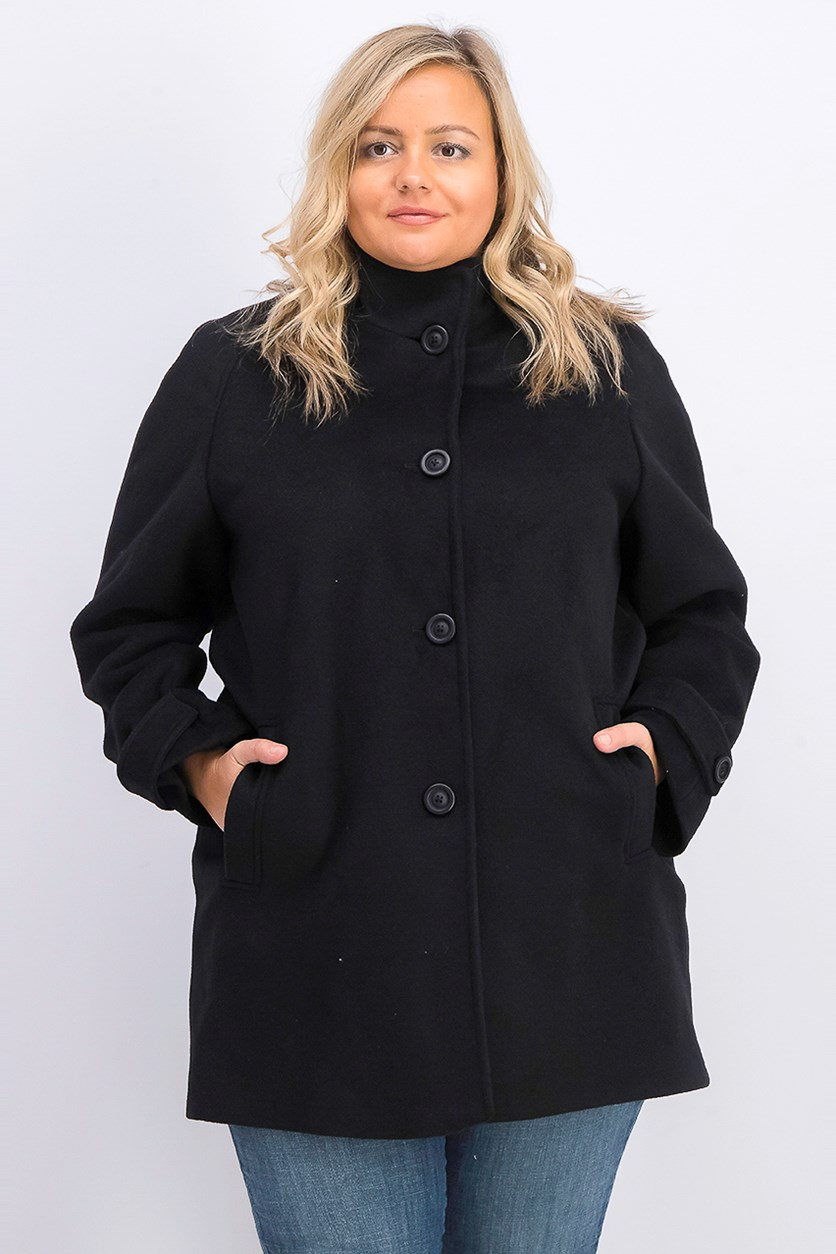 Women's Petite Single-Breasted Walker Coat, Black