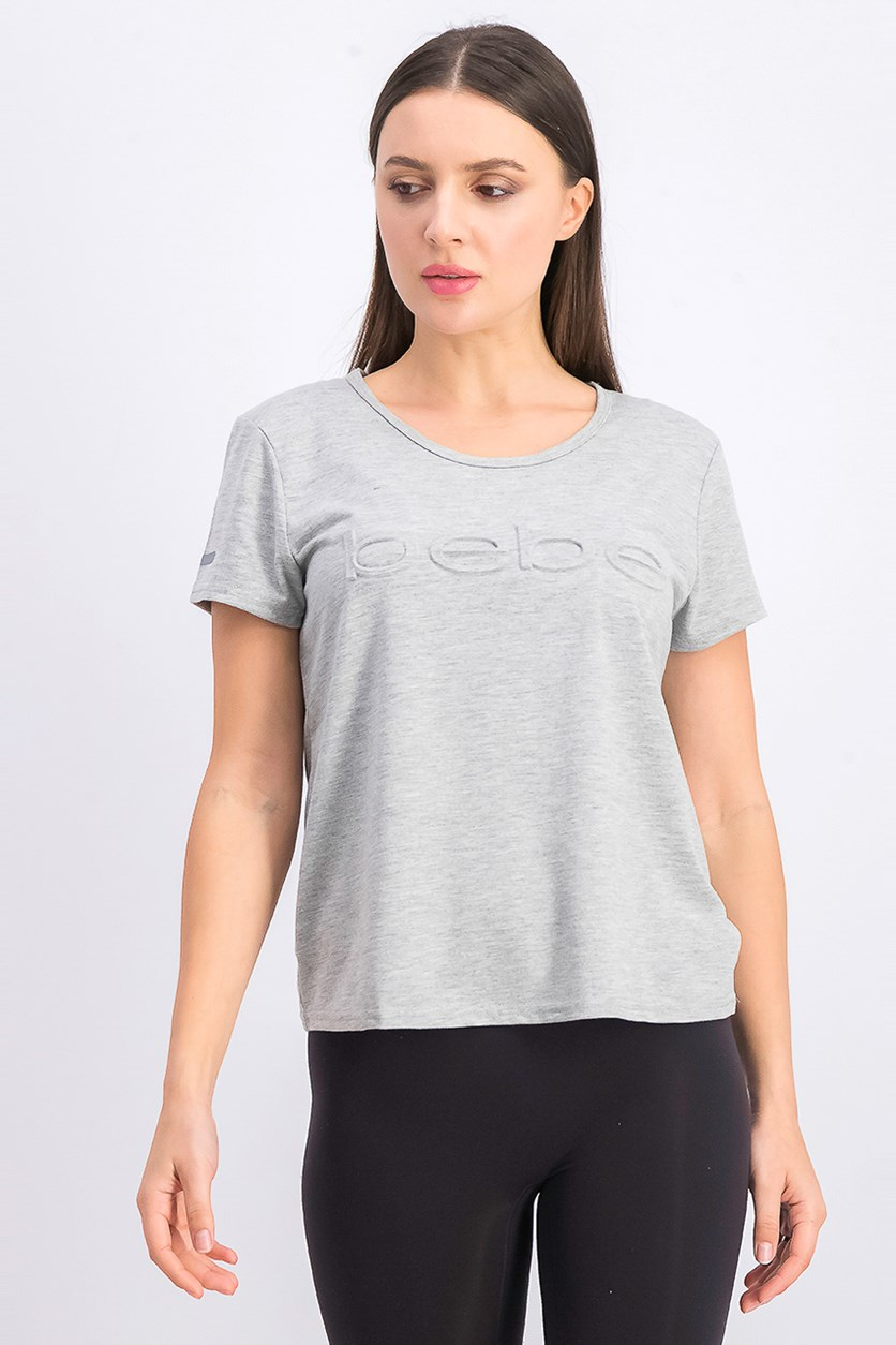 Women's Embossed Logo T Shirt, Grey Heather