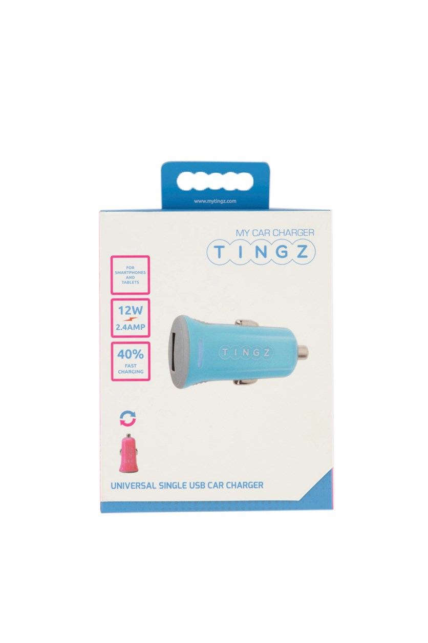Universal Single USB Car Charger, Blue/Pink