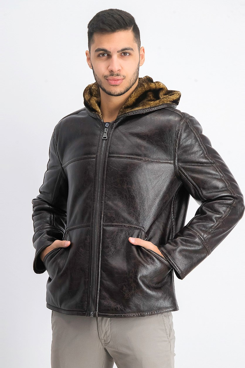 Men's Faux Leather Hooded Jacket, Dark Brown