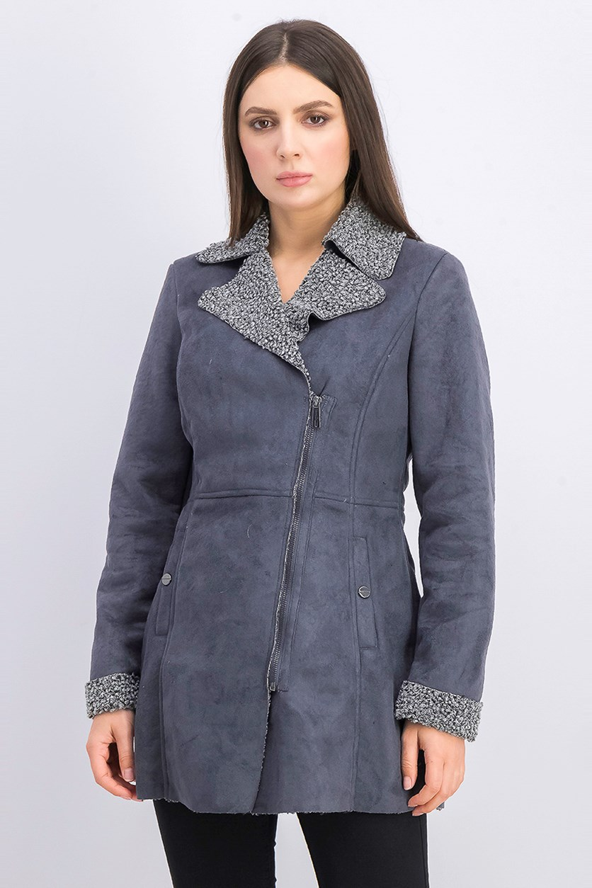 Women's Aymmetrical Zip Front Faux Shearling Outerwear, Gray