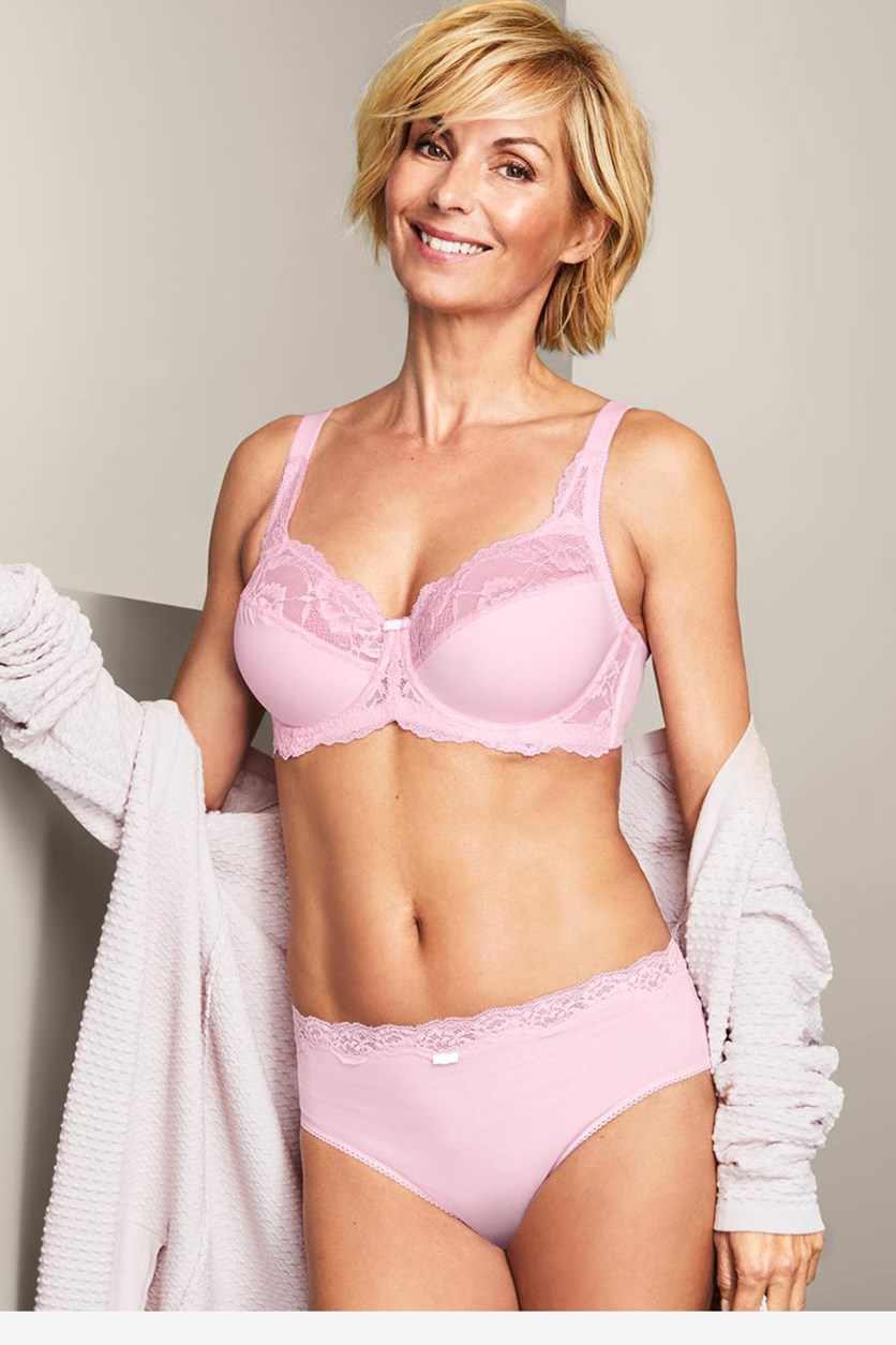 Women's Comfort Underwired Lace Bra, Pink