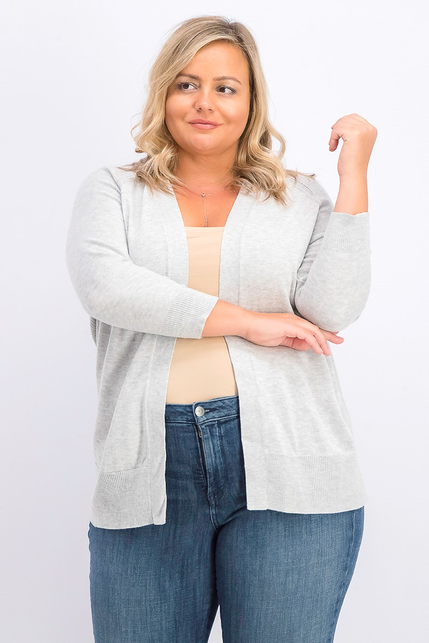 Women's Plus Size 3/4 Sleeve Cardigan, Grey