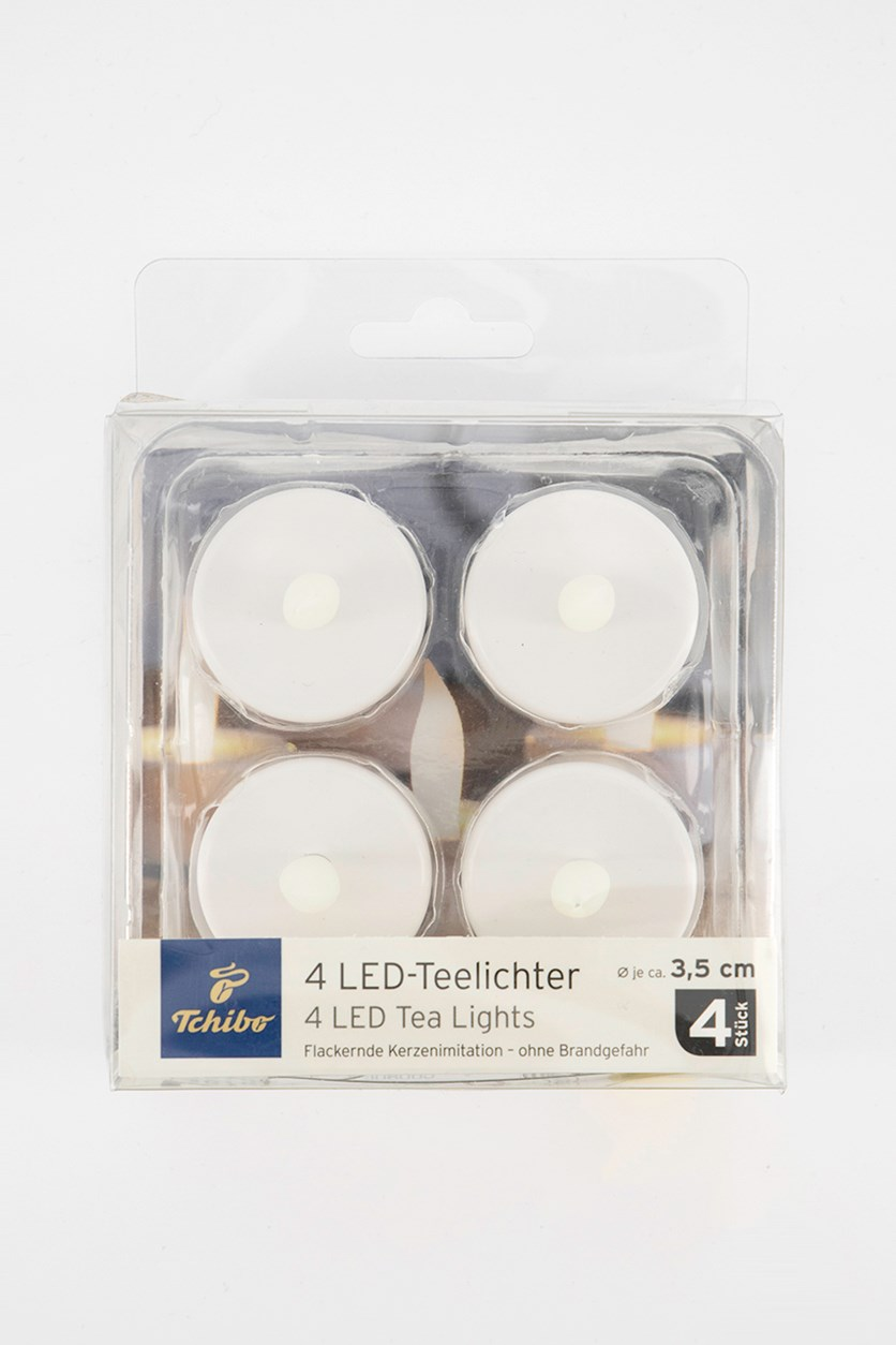 4 Pieces Led Tealights, White