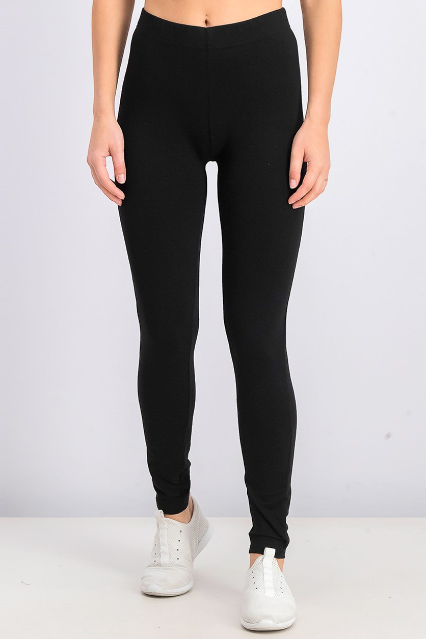 Women's Pull-on Plain Leggings, Black