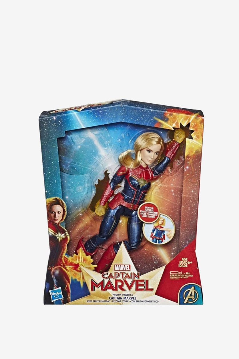 Captain Marvel Photon Power FX Electronic Super Hero Doll, Red/Blue