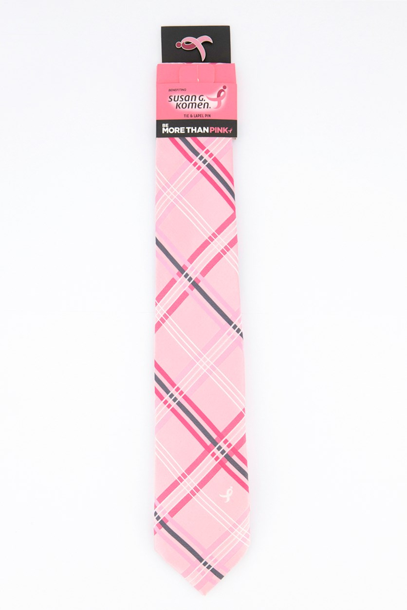 Men's Open Plaid Slim Tie, Pink Combo