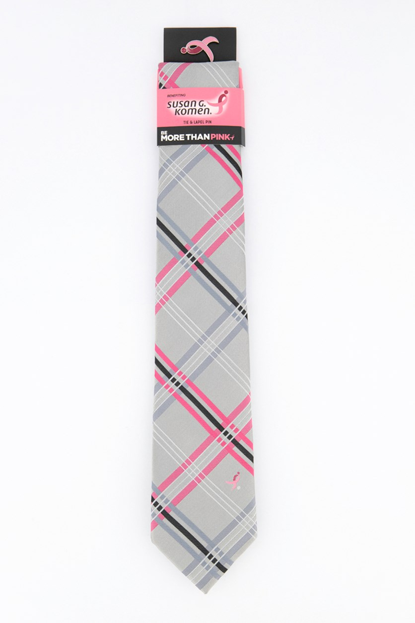 Men's Open Plaid Slim Tie, Charcoal/Pink