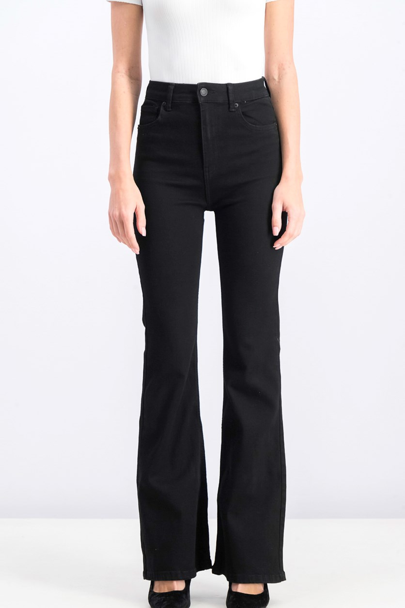 Women's Flared High-Waist Jeans, Black