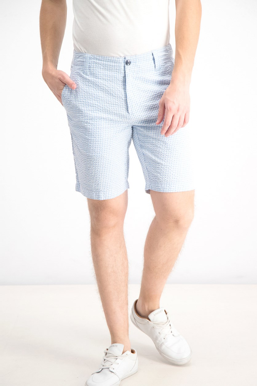 Men's Jerry Gingham Shorts, Baby Blue