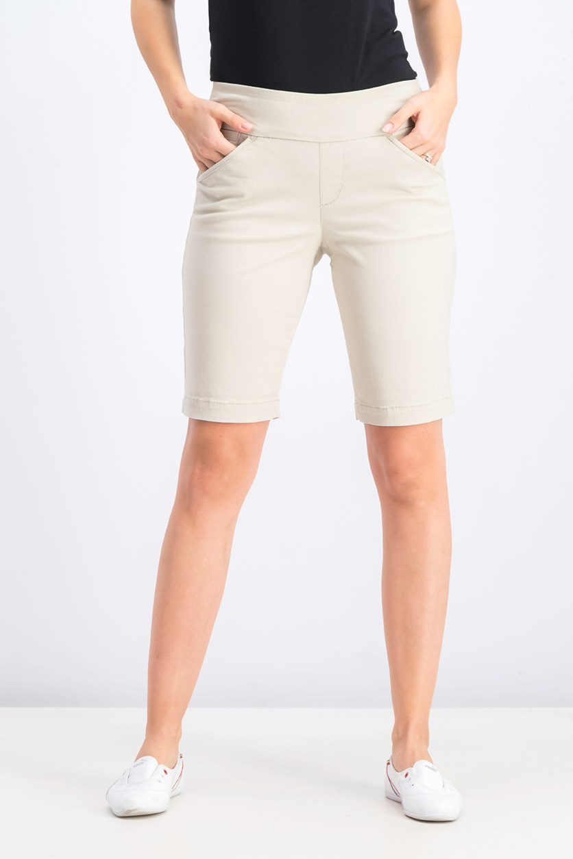 Women's Petite Pull-on Comfort-Fit Bermuda Shorts, Stonewall