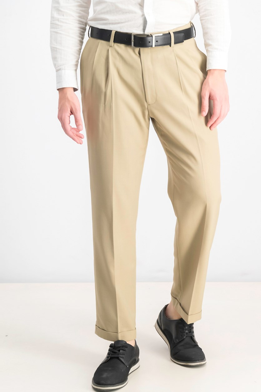 Men's Classic-Fit Eclo Stria Double Pleated Dress Pants, Sand