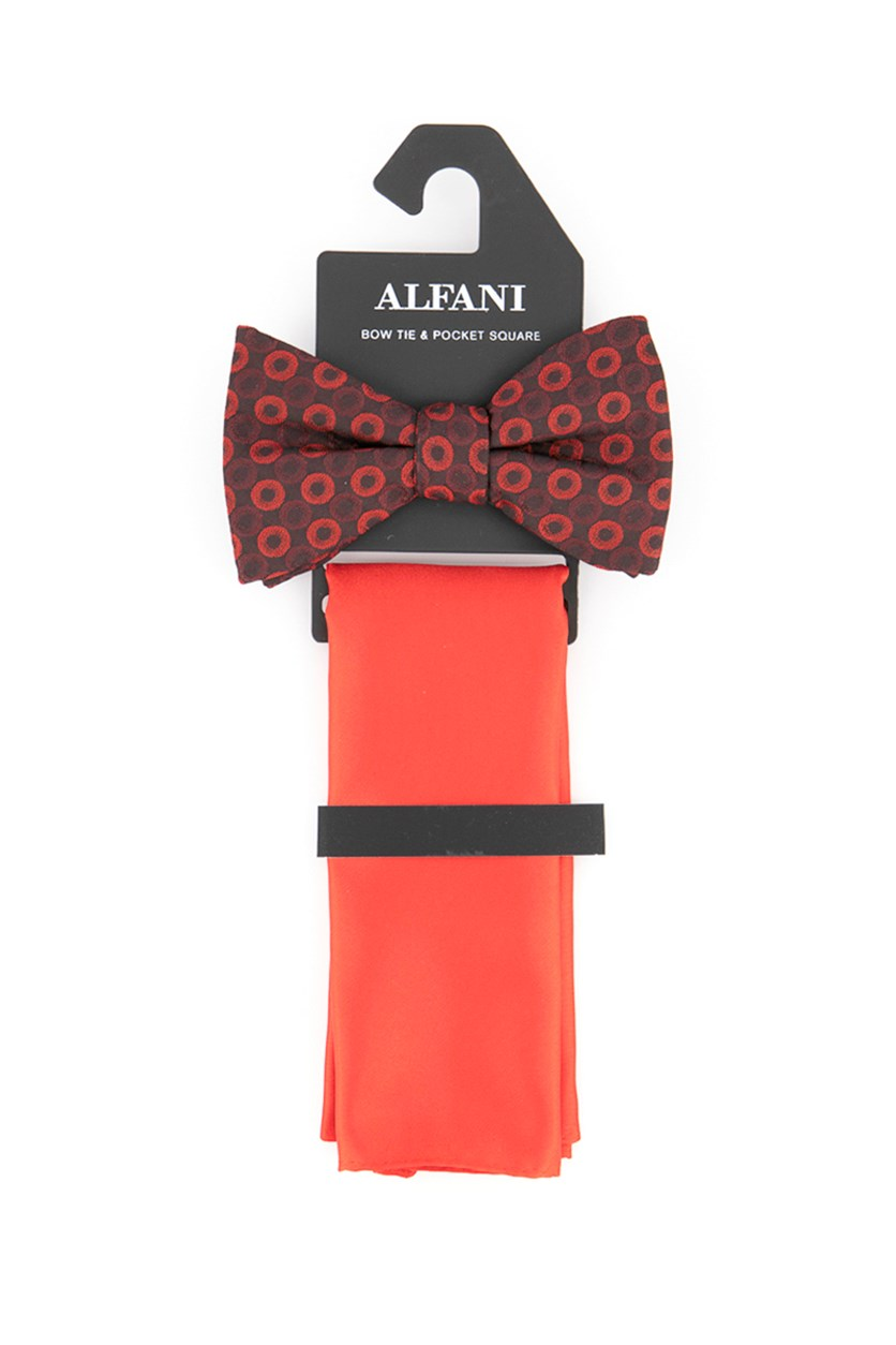 Mens Geometric Pre-Tied Bow, Red