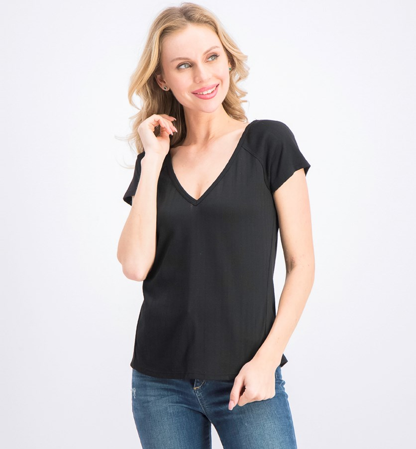 Women's Pointelle Ribbed V-Neck Top, Rich Black