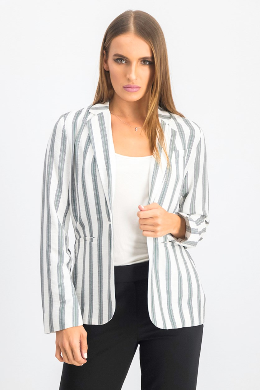 Women's Regancy Stripe Blazer, White/Green