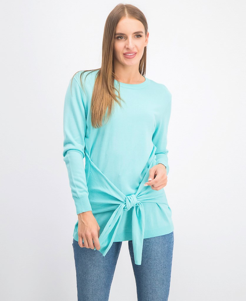 Women's Tie Front Ribbed Sweater, Bright Aqua