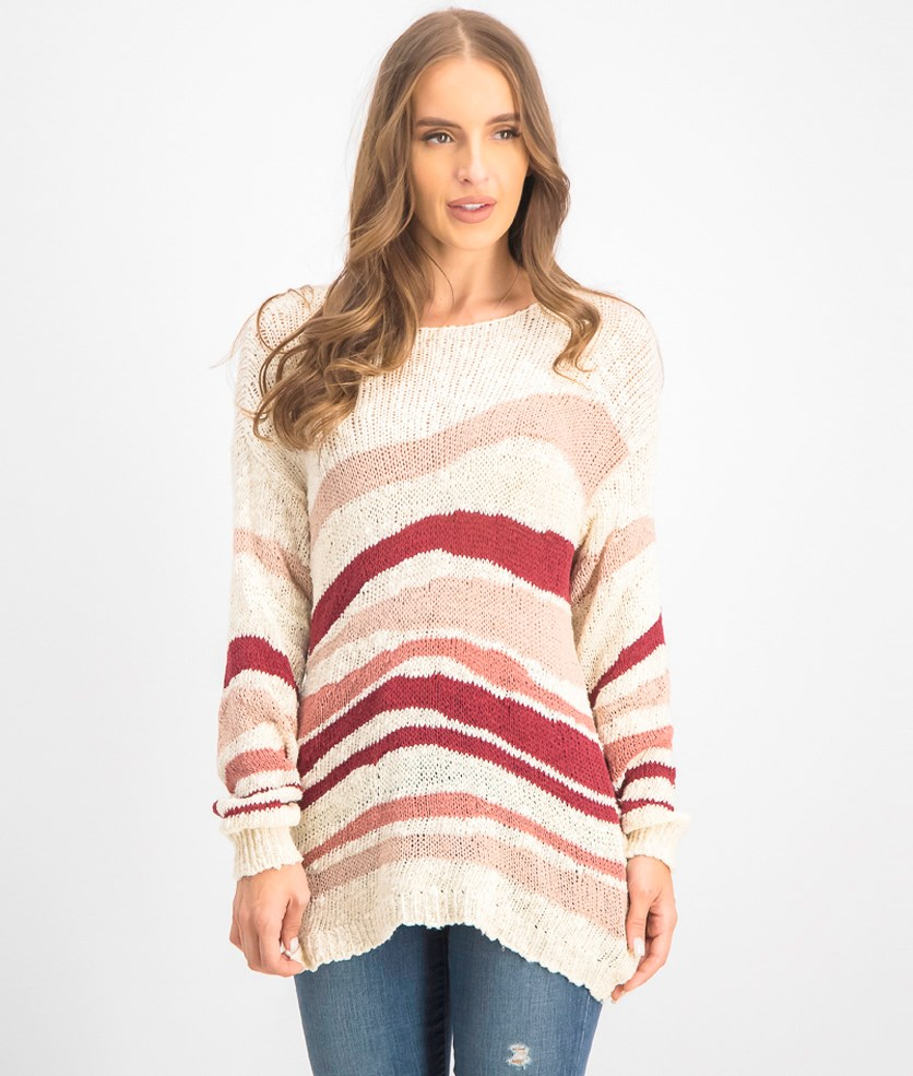 Women's Metallic Knit Pullover Sweater, Sand Drift