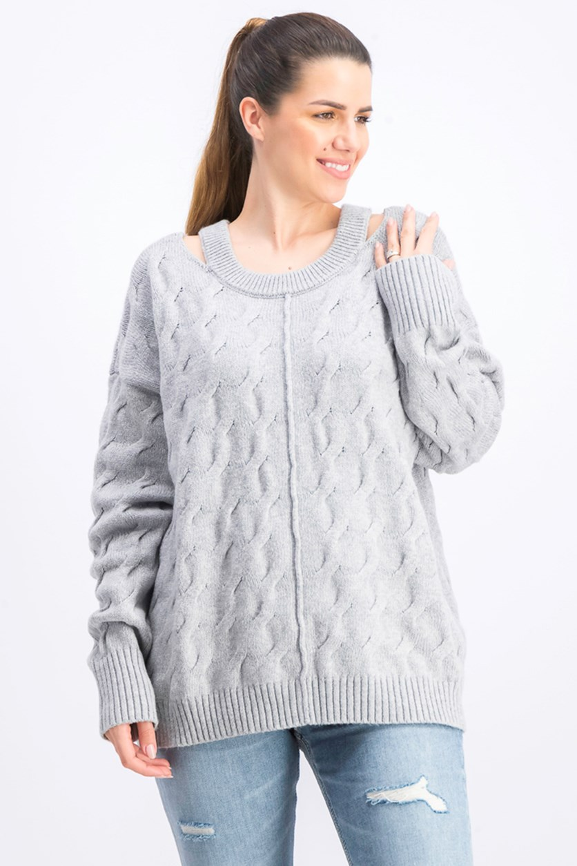 Women's Cable Knit Cut Out Pullover Sweater, Grey