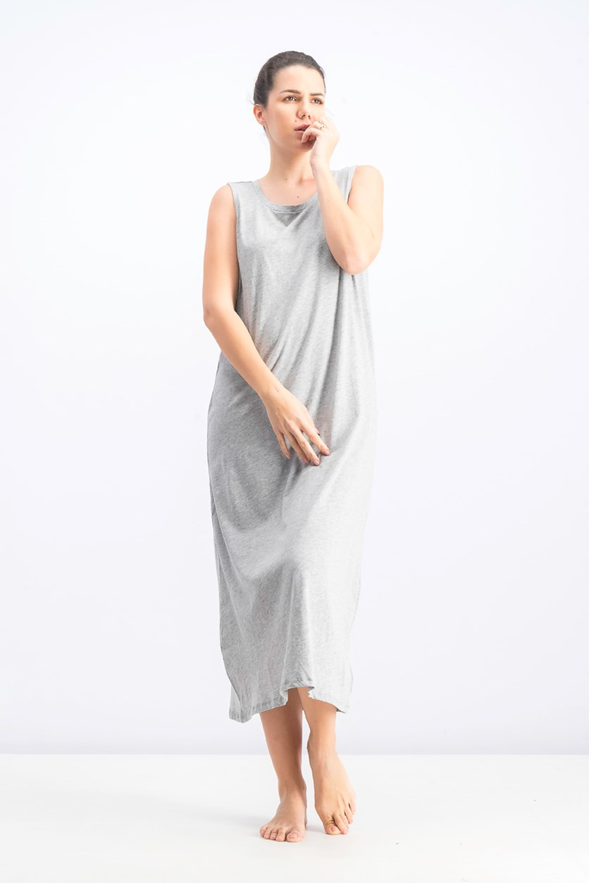 Women's Long Sleep Shirt, Grey Heather