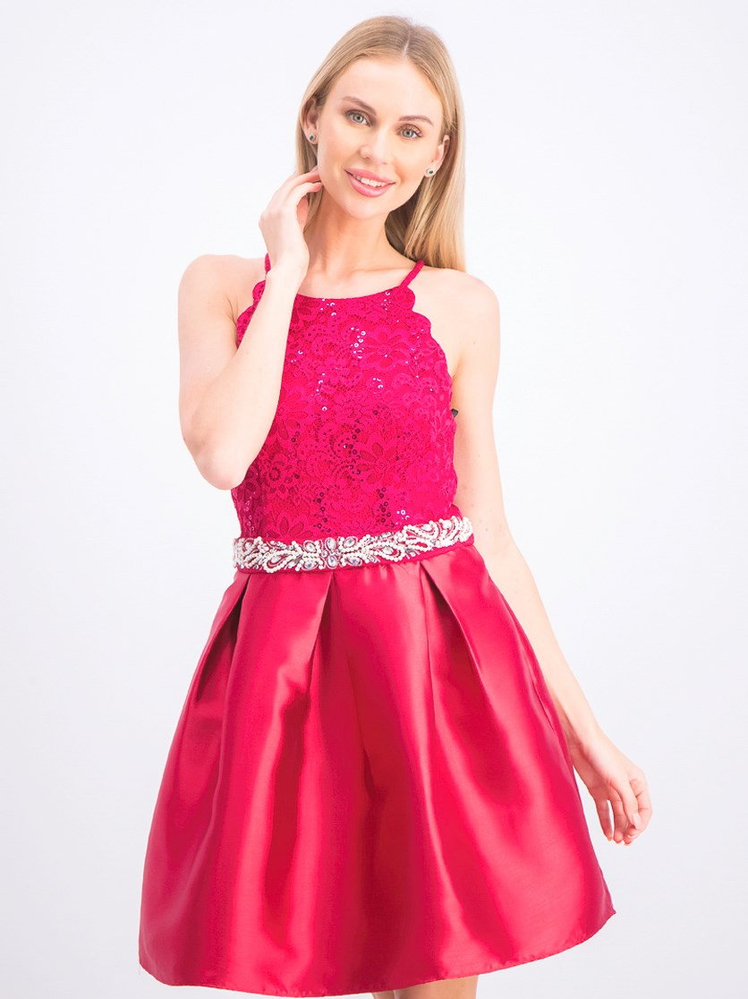 Women's Juniors' Sequined Lace & Satin Fit-and-Flare Dress, Pomegranate